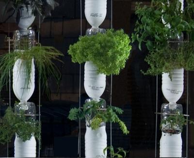 Huerta vertical hecha con botellas plásticas (Foto: LaBioGuía.com)